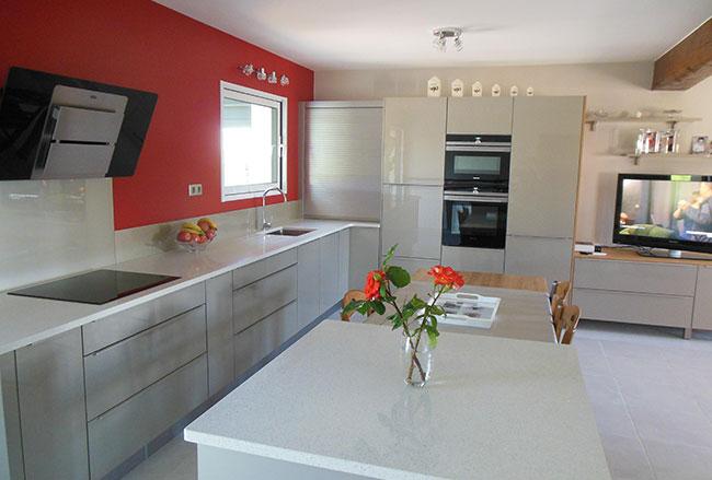 Ilot central cuisine granit