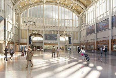 Réalisation du revêtement de sols- 3000 m²- en granit d'Espagne à la Gare de Rouen